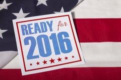 总统选举表决和美国国旗 免版税库存照片