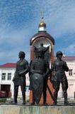 选出/利佩茨克州,俄罗斯- 2017年5月08日:对一直城市的防御者的纪念碑 库存图片