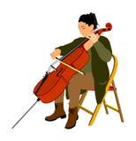 选址和演奏大提琴传染媒介例证的妇女大提琴手 音乐艺术家女孩戏剧串仪器 爵士乐妇女街道执行者 向量例证