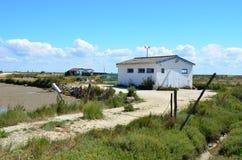 选址ostriecole,种田港口, Oleron,夏朗德省海,法国的牡蛎 免版税库存图片