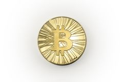 选拔在白色背景的发光的金子Bitcoin硬币 免版税库存照片