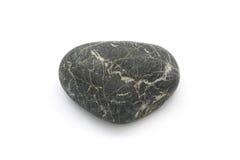 选拔在白色背景隔绝的简单的黑自然石头 库存照片