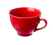 红色陶瓷杯子。 库存图片