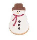 选拔在白色背景隔绝的结霜的雪人曲奇饼 免版税图库摄影