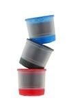 选拔服务在蓝色、黑色和红色的咖啡胶囊被隔绝  图库摄影