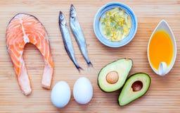 选择Ω 3和不饱和的油脂的食物来源 超级fo 库存图片