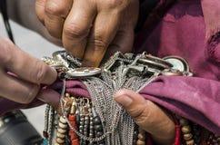选择传统尼泊尔小珠 库存照片