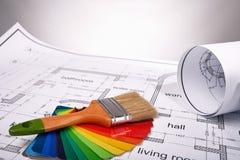 选择修造的油漆颜色 免版税库存照片