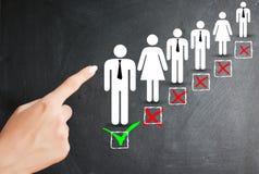 选择候选人、人力资源和就业概念 免版税图库摄影