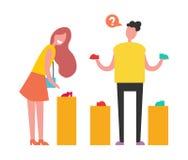 选择在传染媒介例证的购物人 免版税图库摄影