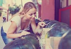 选择在市场上的妇女西瓜 免版税库存照片