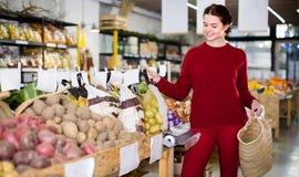 选择季节性菜的欢悦少妇在农厂商店 库存图片