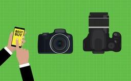 选择并且买最佳的照相机slr 免版税图库摄影