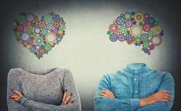 选择心脏或头脑 库存图片