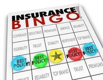 选择最佳的政策计划覆盖面保险费的保险宾果游戏 免版税库存图片
