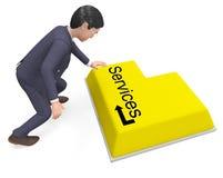 选择服务的商人代表询问台和忠告 库存照片