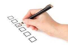 选择现有量一选项写作三 免版税库存照片