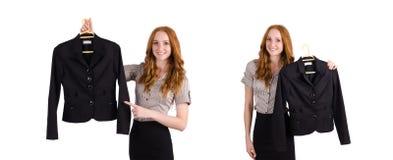 选择礼服的妇女隔绝在白色 免版税库存照片