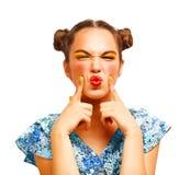 选择秀丽少年式样的女孩认为或 免版税图库摄影