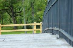 选择聚焦射击了桥梁栏杆在公园 免版税库存照片