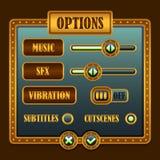 选择菜单steampunk样式比赛按钮 库存图片