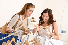 选择衣裳方式销售额购物的二妇女 库存图片