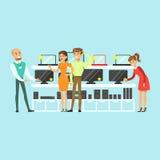 选择计算机设备在电器商店五颜六色的传染媒介例证的售货员帮助下的人们 皇族释放例证