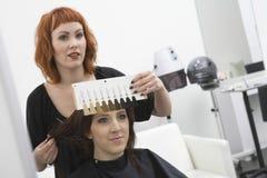 选择颜色的树荫客户和美发师 库存图片