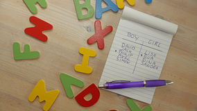 选择婴孩名字对于男孩或女孩 免版税库存照片