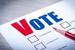 选民选票特写镜头 免版税库存照片