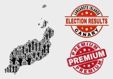 选票兰萨罗特岛海岛的构成映射和被抓的优质封印 皇族释放例证