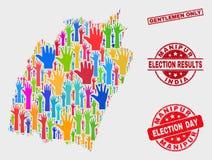 选票曼尼普尔邦状态地图和难看的东西先生们拼贴画只盖印 向量例证