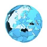 透亮地球上的欧洲 图库摄影