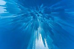 透亮蓝色冰城堡 库存图片