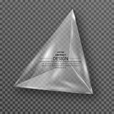 透明三角水晶 在被隔绝的背景的玻璃形式与阴影 设计的一个元素 模板 向量 免版税库存图片