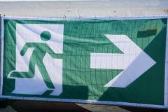 透明作为逃走的路线的一个标志在事件 免版税库存照片