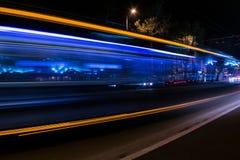 透明公共汽车的作用 青蓝色作用 免版税库存照片