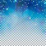 透明冬天背景 蓝色光和雪花 库存图片