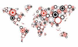 透明嵌齿轮转动世界地图 免版税图库摄影