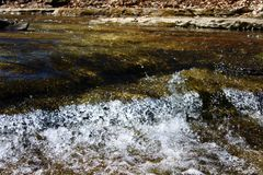 透明无水流动从小河 免版税库存照片
