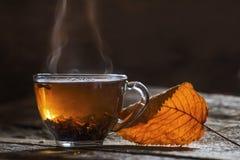 透明杯子用在黑暗的背景的茶 免版税库存照片