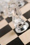 透明棋的马 库存照片