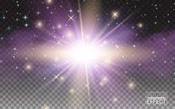 透明焕发不可思议的光线影响 与闪闪发光的星爆炸 可实现设计的要素 也corel凹道例证向量 库存例证