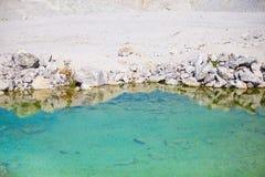 透明的水在一个含沙地点 图库摄影