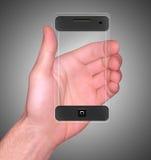 透明移动巧妙的电话 免版税库存图片
