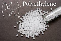 透明聚乙烯药丸 聚乙烯是一个化学式 塑料原材料 塑料粒子 免版税库存照片