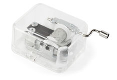 透明配件箱钟表机构音乐的玩具 免版税库存照片