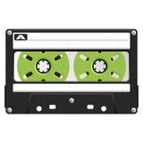 透明音频黑色的卡式磁带 免版税库存照片