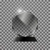 透明玻璃发光的奖 查出在黑暗的背景 免版税库存图片