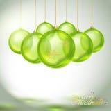 透明绿色圣诞节球 免版税库存照片